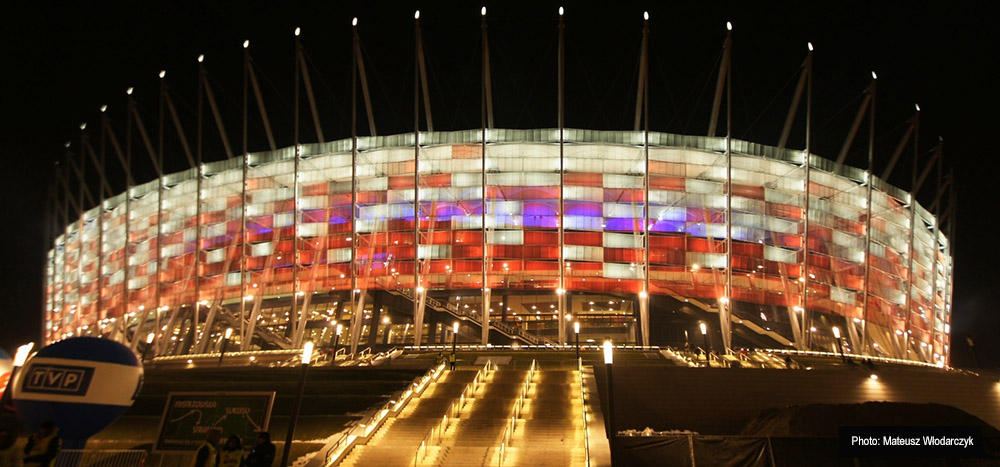 Polish National Stadium at night