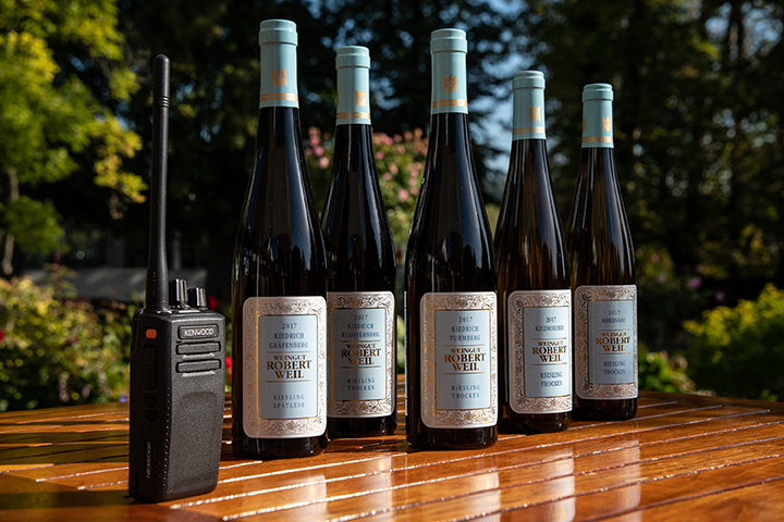 Robert Weil Wine Bottles and Hand Portable Radio